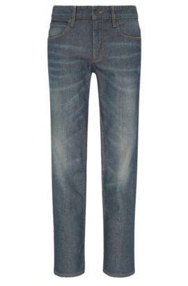 Jeans Slim Fit délavé en coton extensible: «Orange63», Bleu foncé