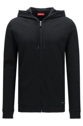 Chaqueta sudadera relaxed fit en algodón con capucha: 'Delinger', Negro
