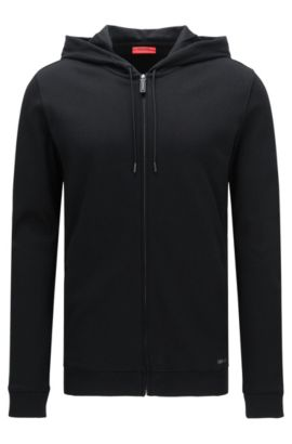 Relaxed-fit hooded sweatshirt jacket in cotton: 'Delinger', Black