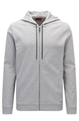 Relaxed-fit hooded sweatshirt jacket in cotton: 'Delinger', Open Grey