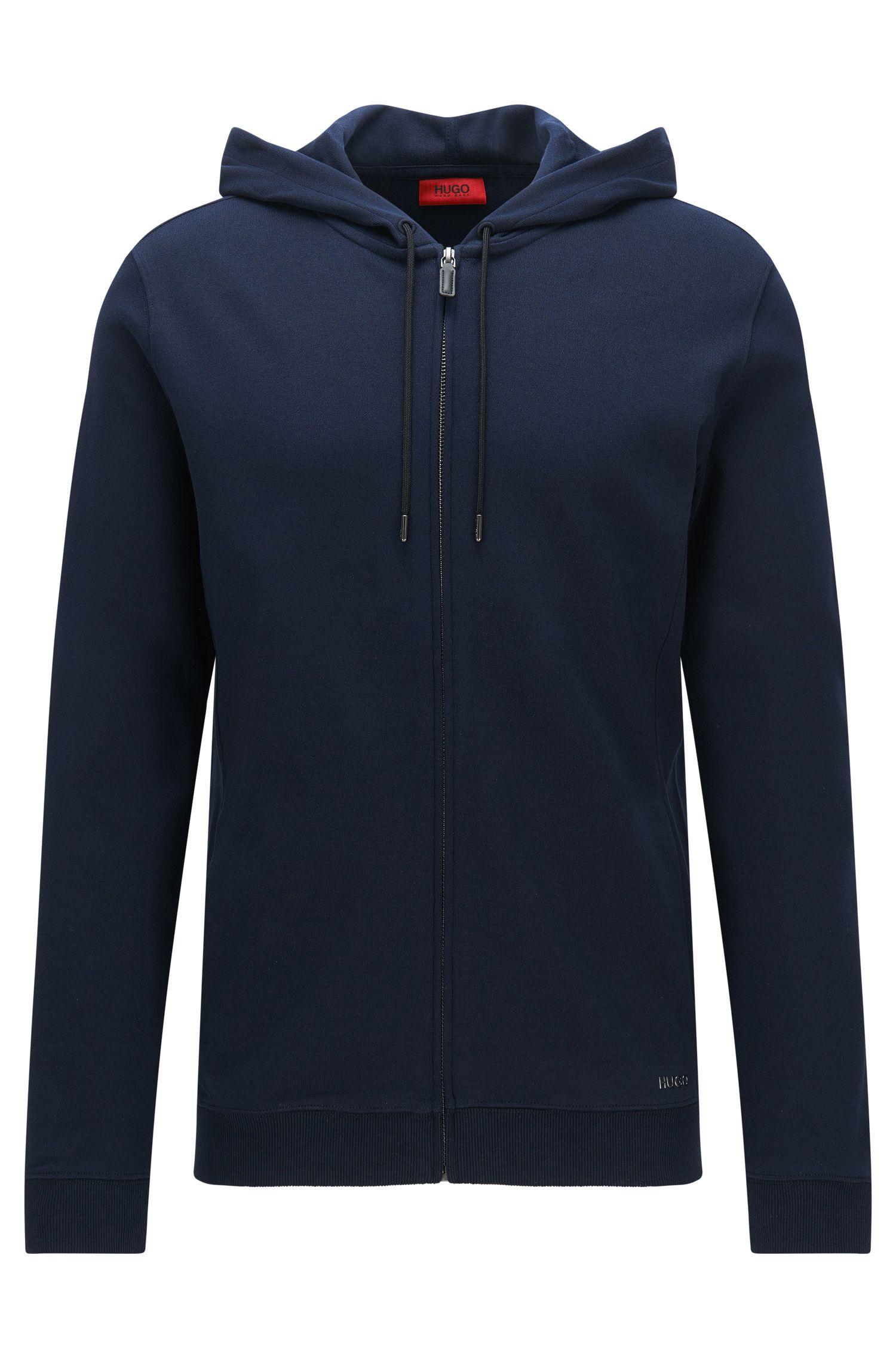 Relaxed-Fit Sweatshirt-Jacke aus Baumwolle mit Kapuze: 'Delinger'