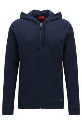 Chaqueta sudadera relaxed fit en algodón con capucha: 'Delinger', Azul oscuro