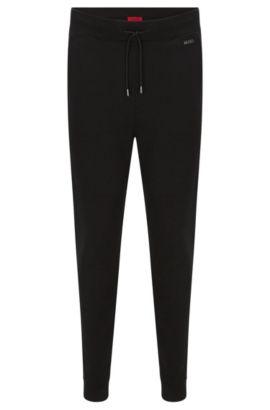 Pantaloni in felpa regular fit in cotone con coulisse in vita: 'Derkins', Nero