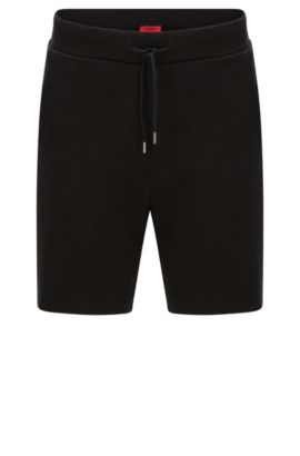 Regular-fit sweat shorts in cotton with drawstring waistband: 'Dibbons', Black