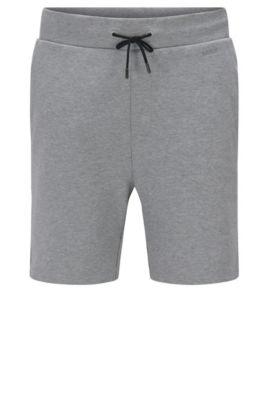Regular-fit sweatshort van katoen met tunnelkoord: 'Dibbons', Lichtgrijs