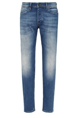 Jeans Tapered Fit en coton extensible : « Orange90 », Bleu