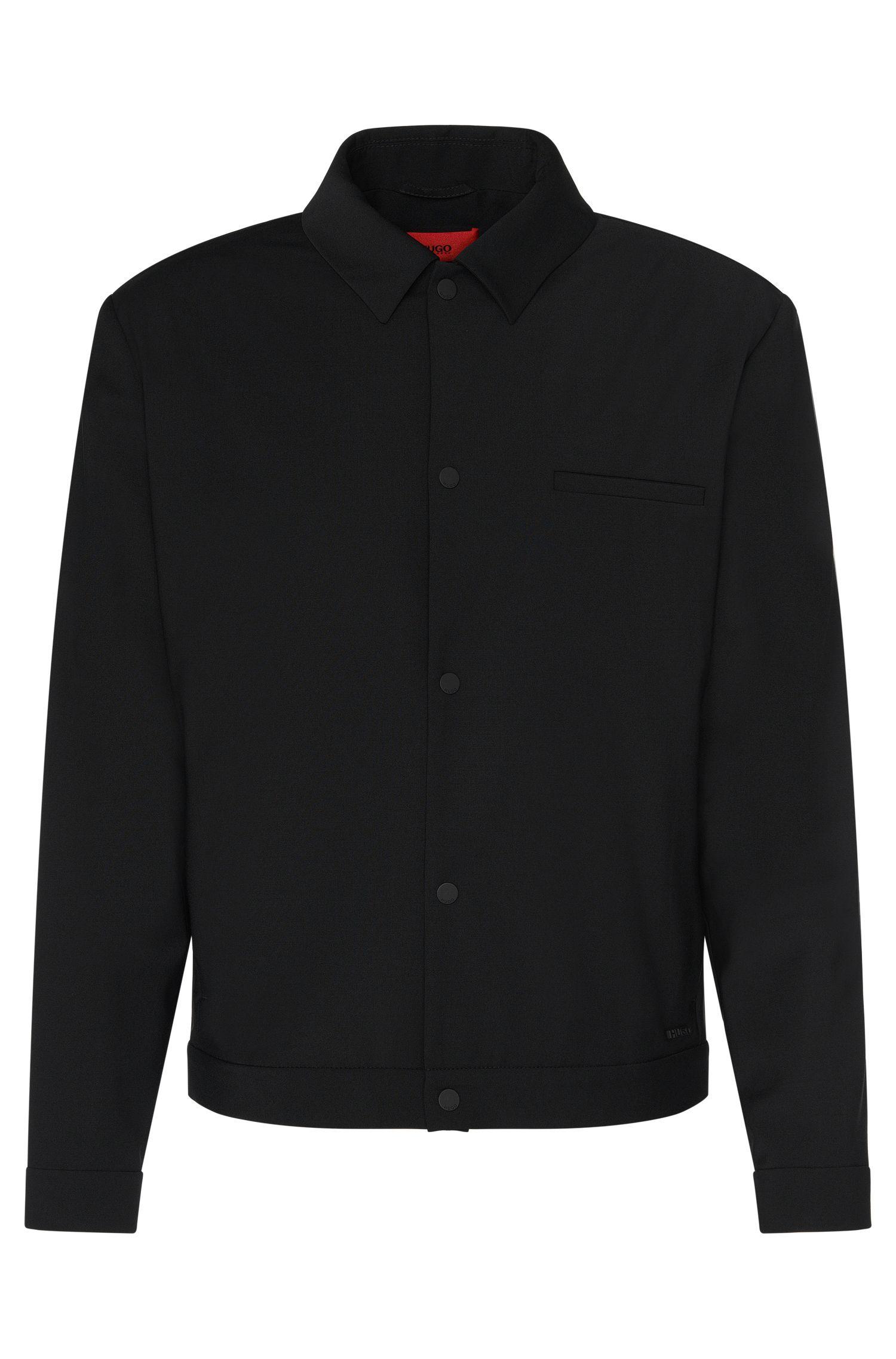 Cazadora regular fit en mezcla de lana virgen elástica con tapeta de botones automáticos: 'Benekto'
