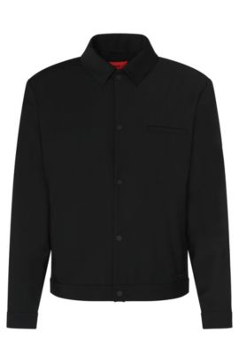 Regular-fit jacket in stretchy new-wool blend with press stud placket: 'Benekto', Black