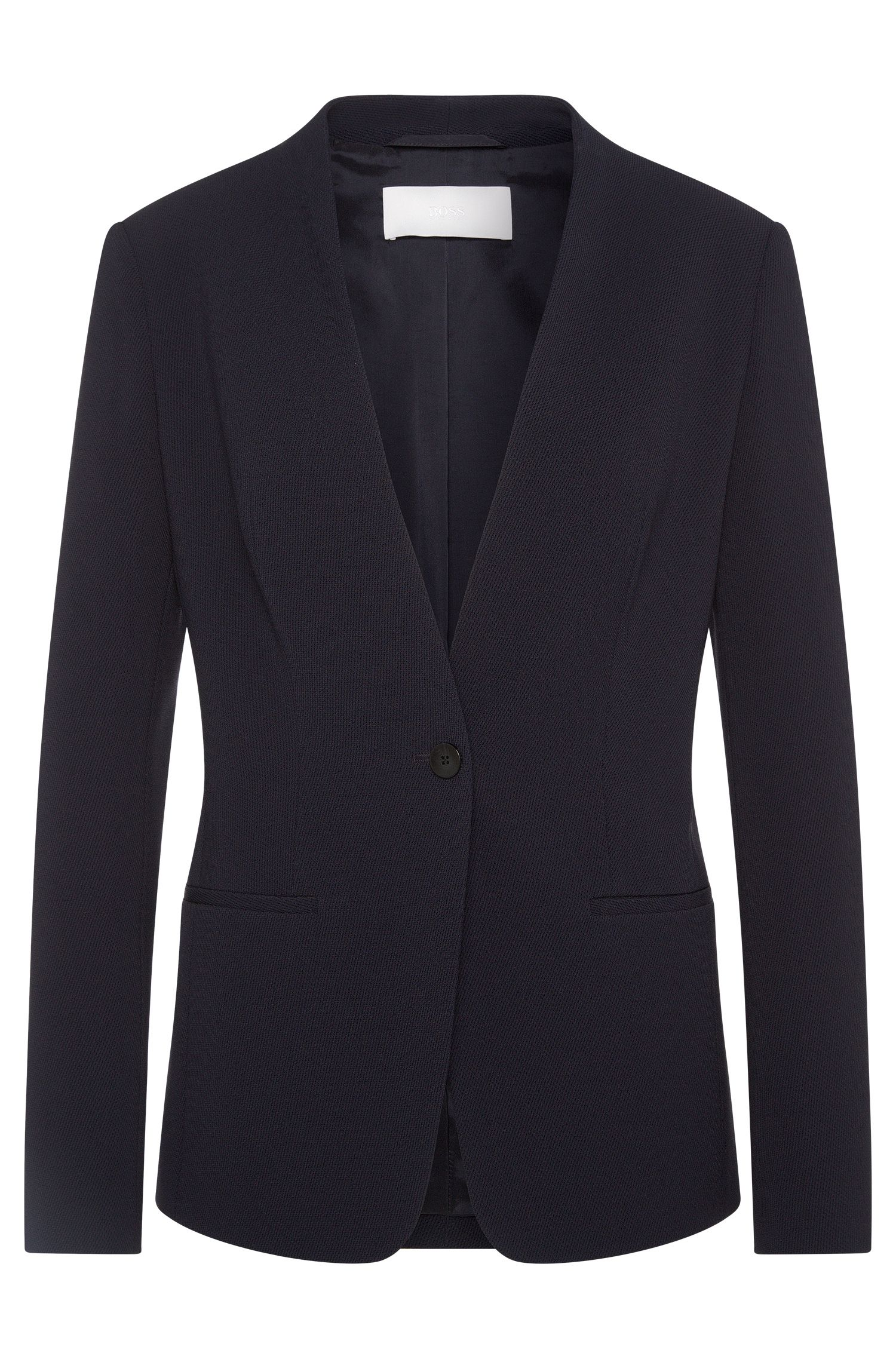 Slim-fit blazer in textured material blend: 'Jurelli'