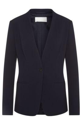 Slim-fit blazer in textured material blend: 'Jurelli', Open Blue