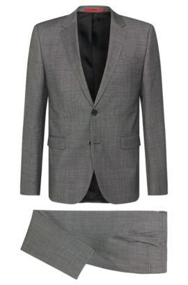 Slim-fit suit in new-wool blend: 'Astian/Hets', Dark Grey
