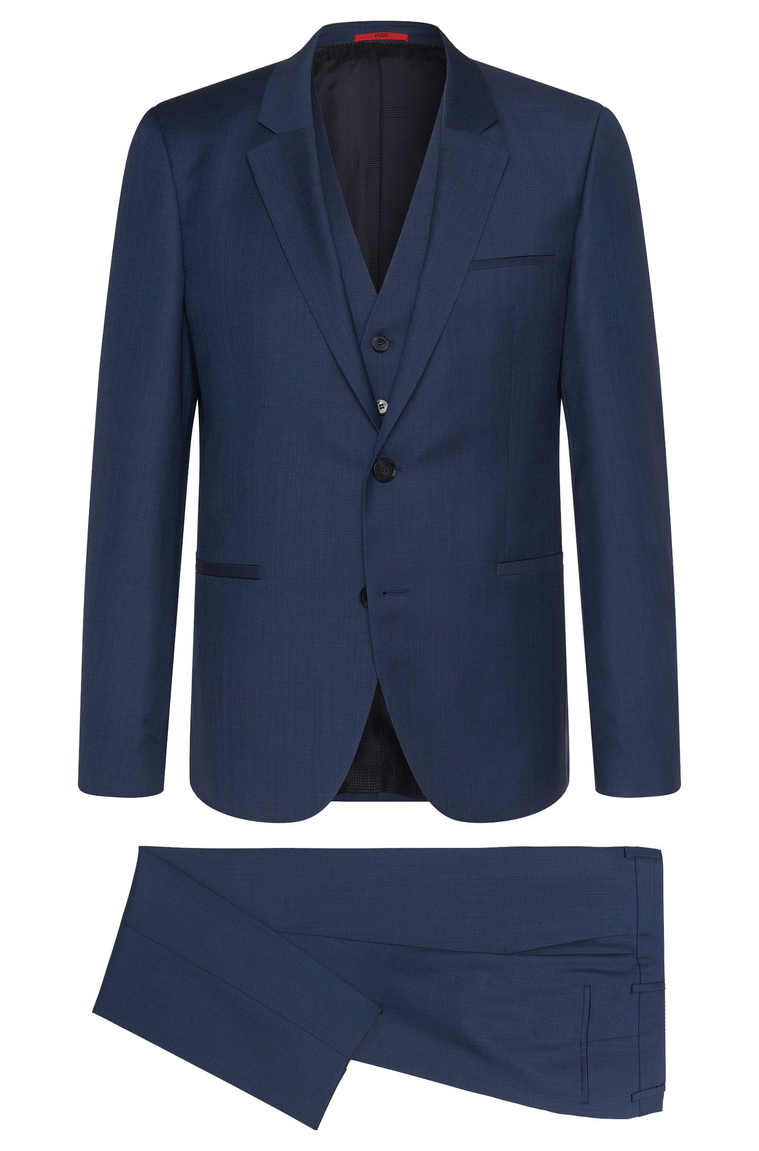Slim-fit suit with waistcoat in new wool: 'Arvon/Wiant/Hilwert'