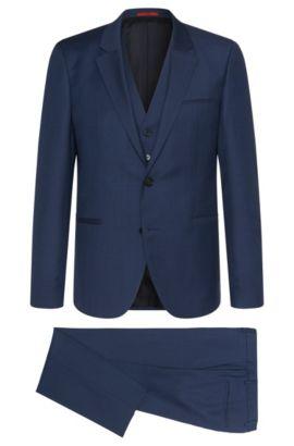 Slim-fit kostuum van scheerwol met gilet: 'Arvon/Wiant/Hilwert', Blauw