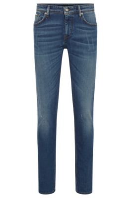 Slim-fit jeans in washed stretch denim, Blue