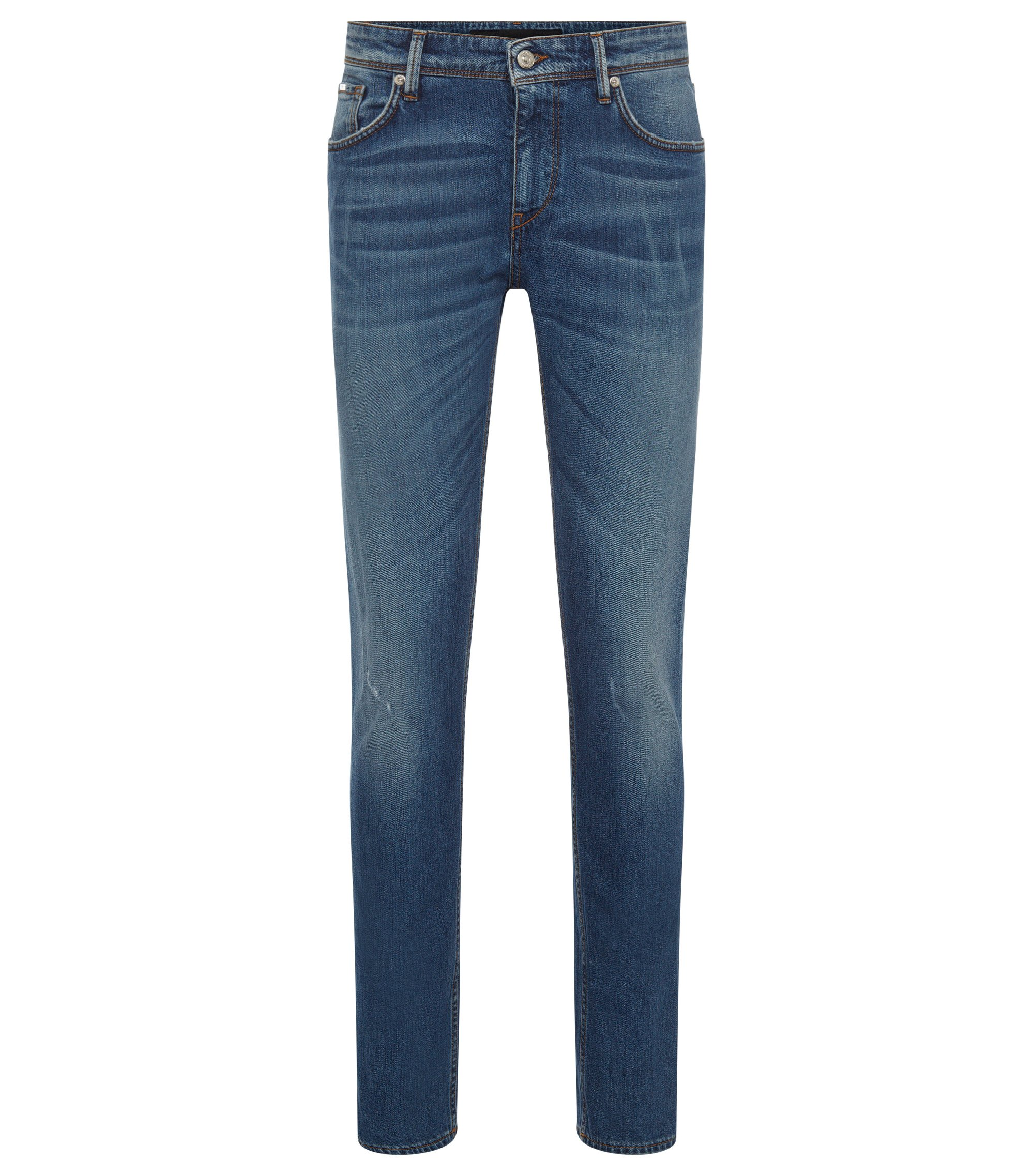 Jeans Slim Fit en denim stretch délavé, Bleu