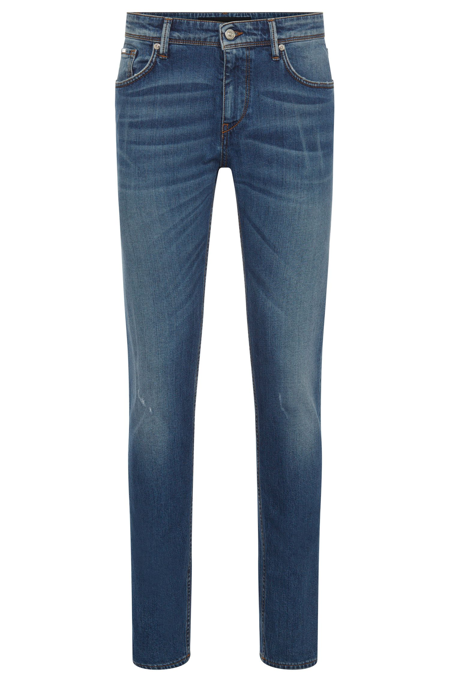 Slim-fit jeans in stretch cotton with a used wash: 'Charleston3'