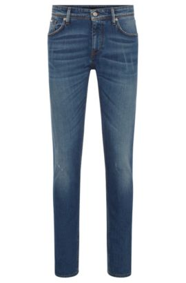 Slim-Fit Jeans aus gewaschenem Stretch-Denim, Blau