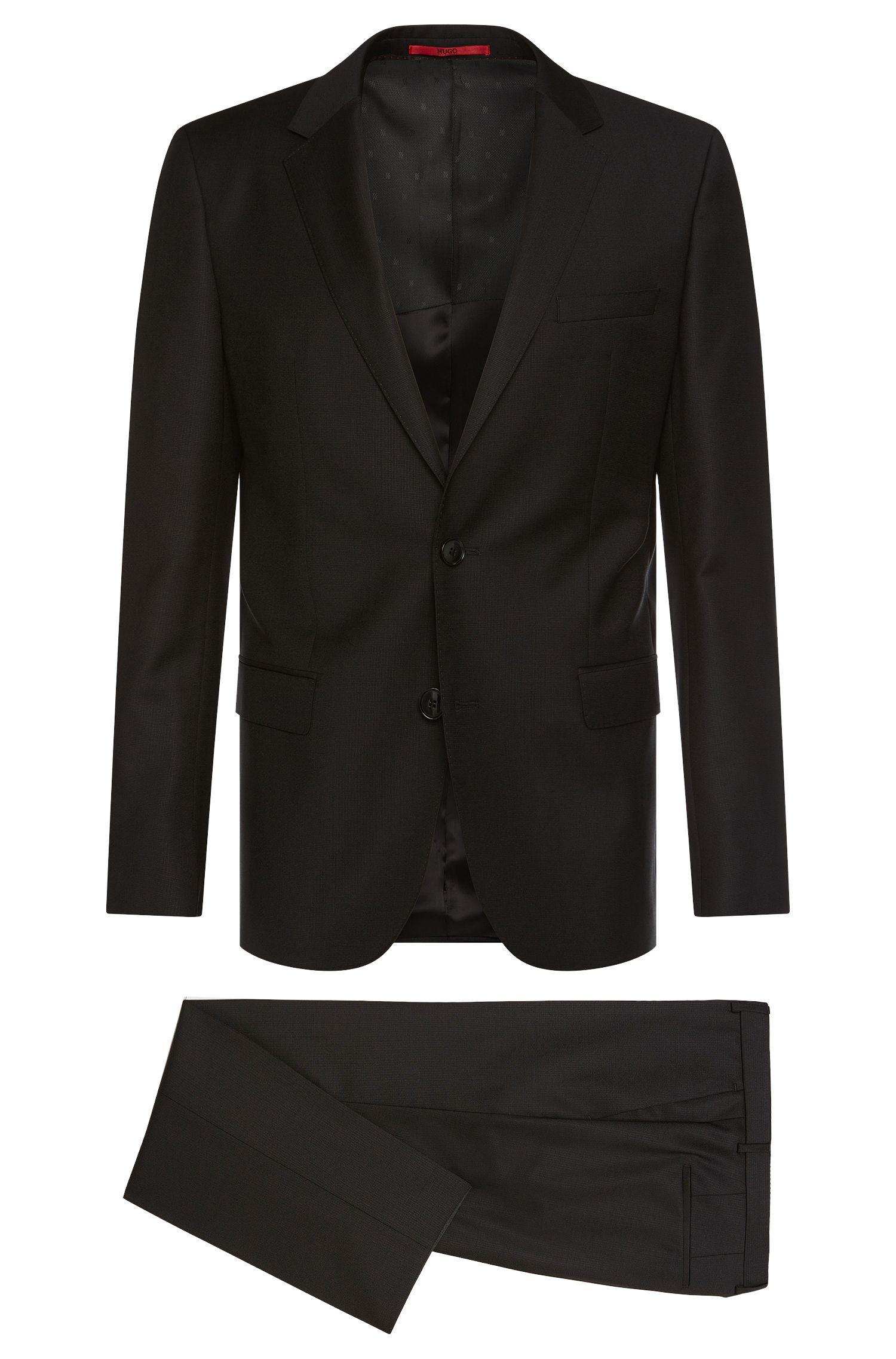 Slim-Fit Anzug aus fein strukturierter Schurwolle: 'C-Huge1/C-Genius'