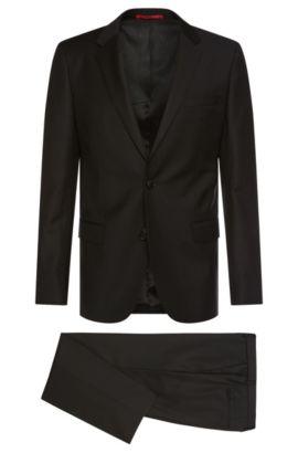 Slim-fit kostuum van lichtgestructureerde scheerwol: 'C-Huge1/C-Genius', Zwart
