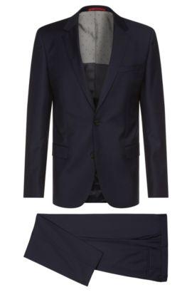 Slim-Fit Anzug aus fein strukturierter Schurwolle: 'C-Huge1/C-Genius', Dunkelblau