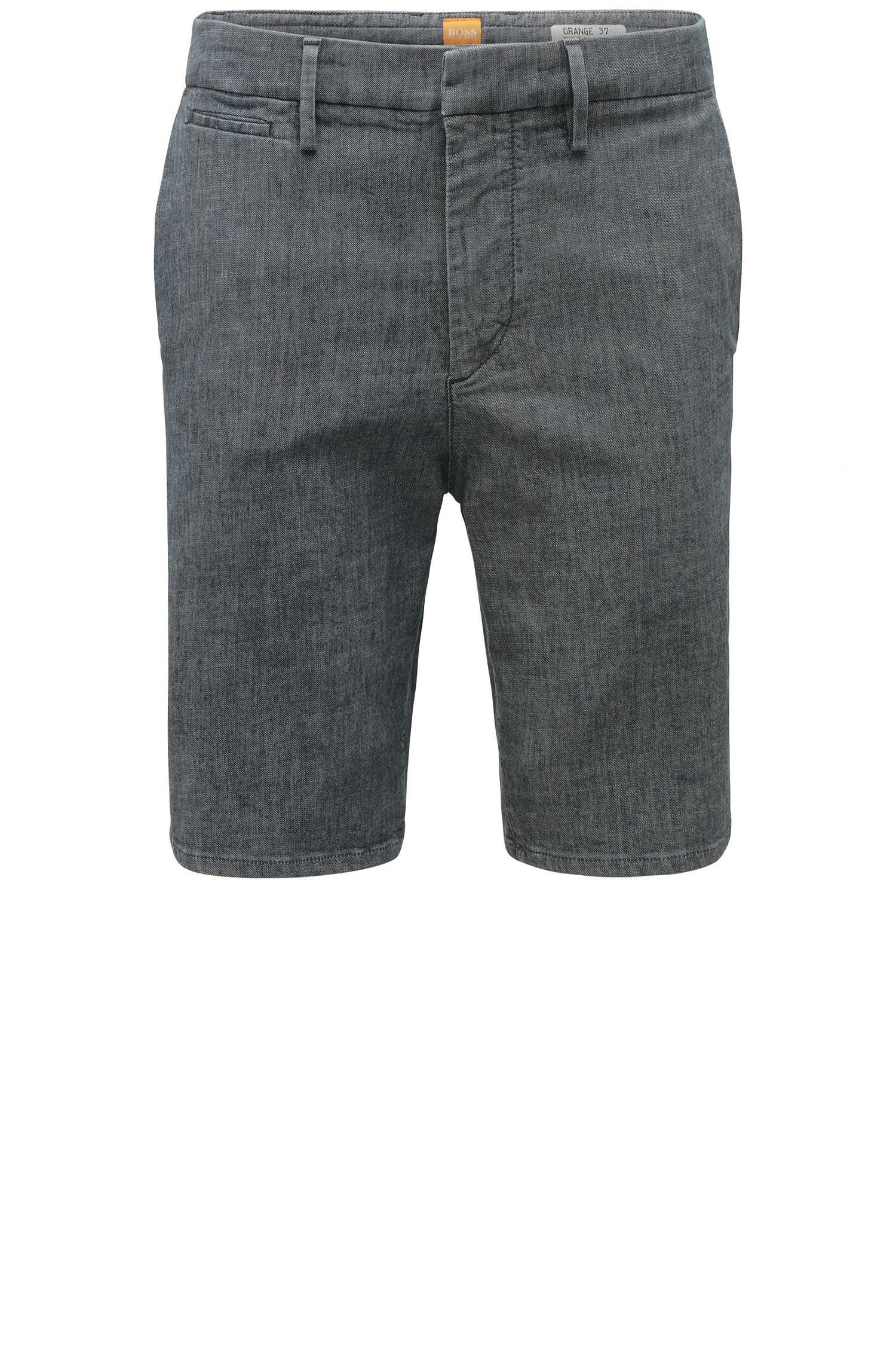 Regular-fit shorts in textured stretch cotton: 'Orange37 Short'