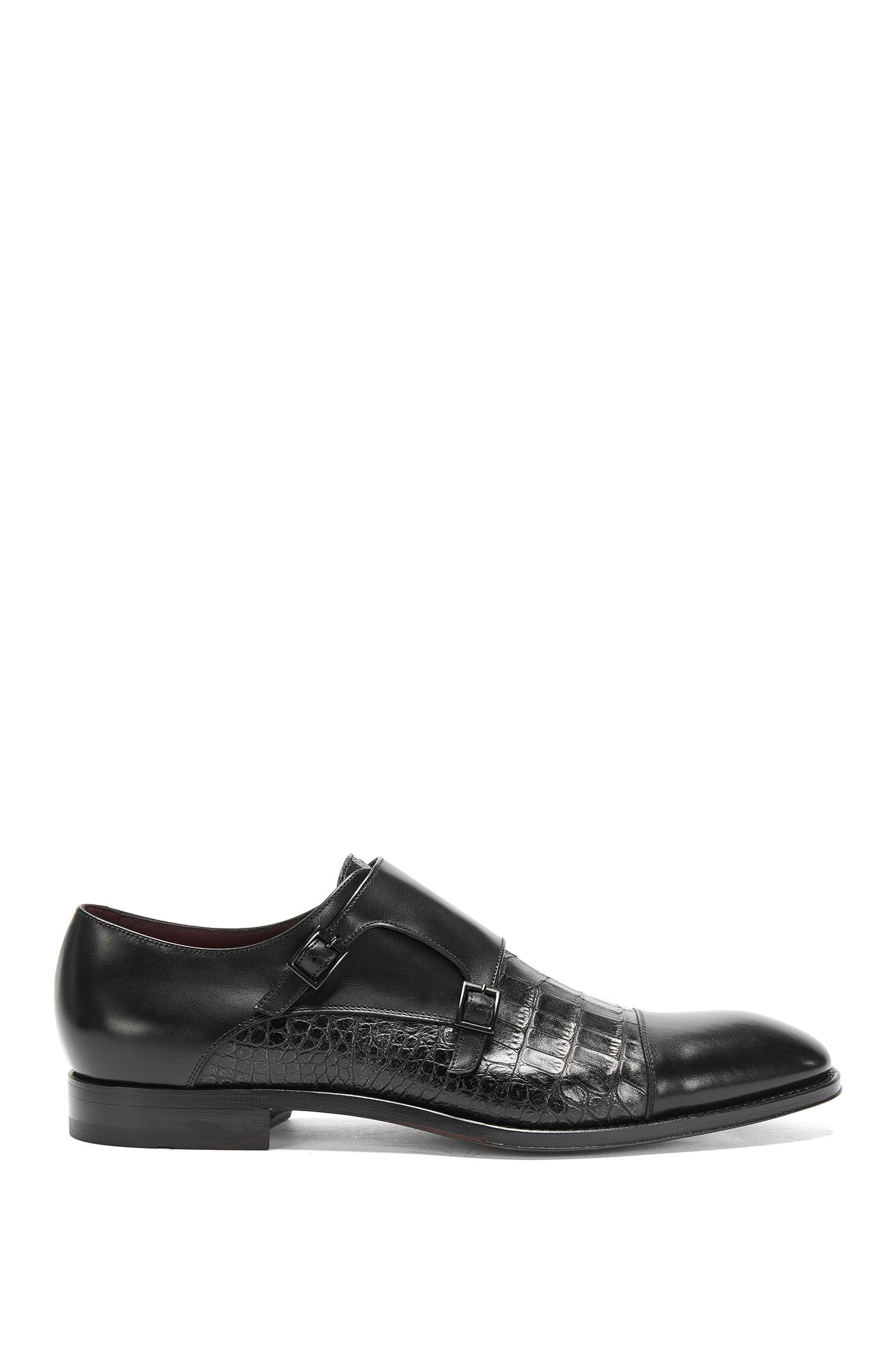 Schoenen met dubbele gesp uit de Tailored-collectie, van een leermix: 'T-Legend_Monk_exct'