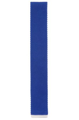 Cravate Tailored en soie côtelée : « T-Tie 6 cm knitted », Bleu