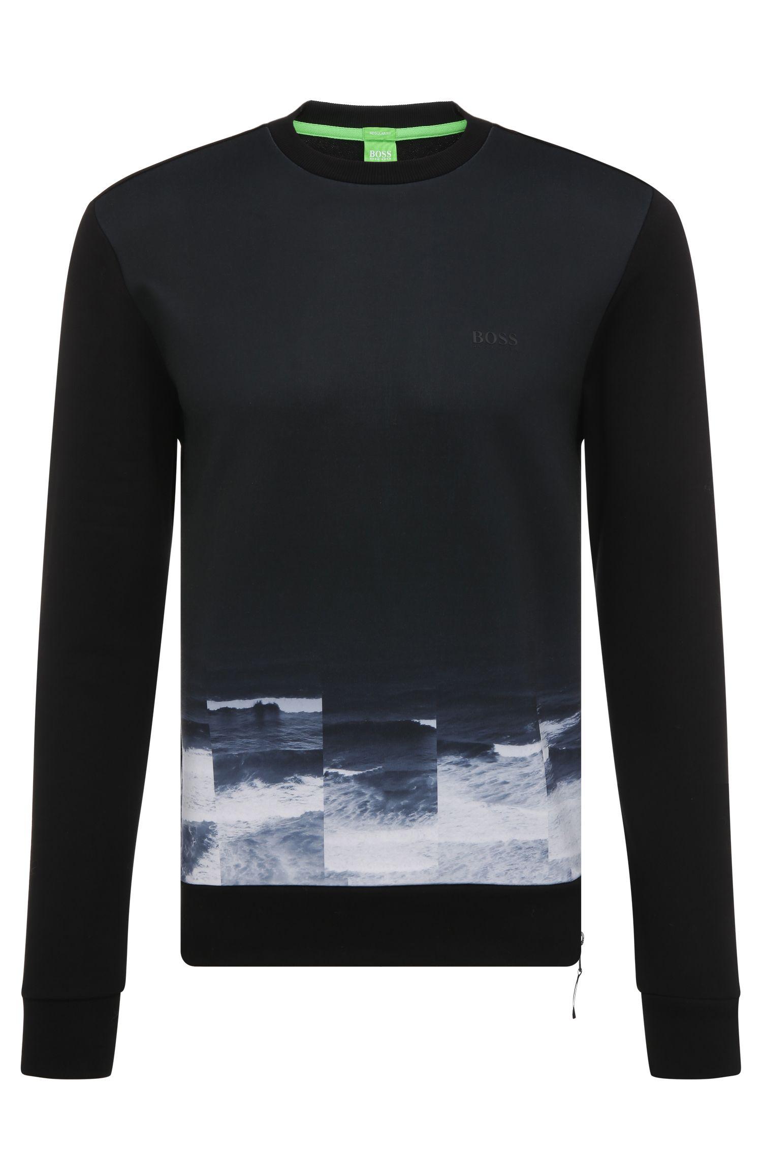 Regular-fit sweatshirt van katoen met print: 'Salbon'