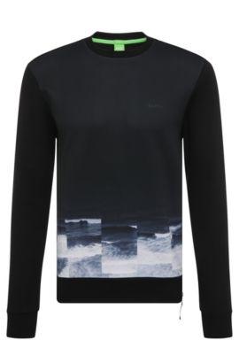 Regular-fit sweatshirt van katoen met print: 'Salbon', Zwart