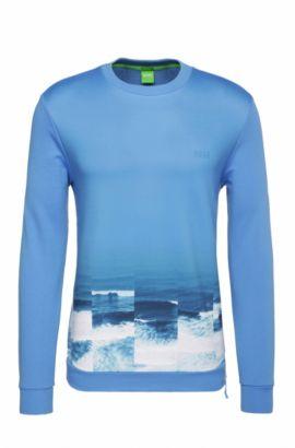 Regular-fit sweatshirt van katoen met print: 'Salbon', Blauw
