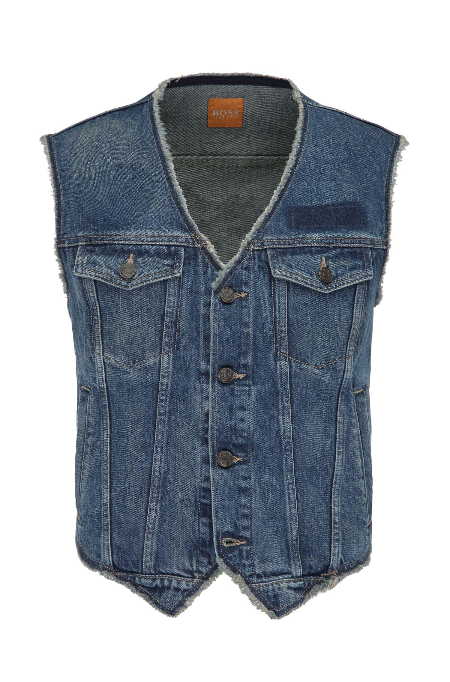 Veste en jeans en coton aux détails usés: «Orange3»