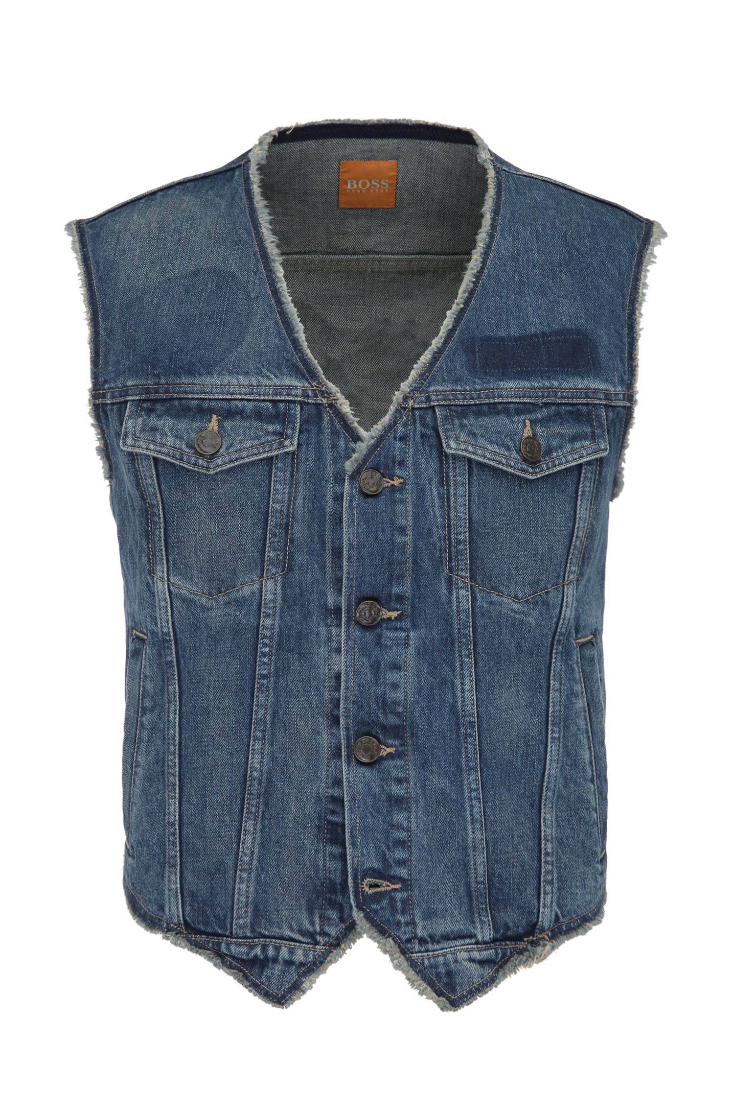 Cotton denim waistcoat with used detailing: 'Orange3'