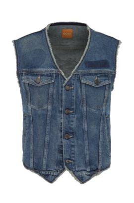 Cotton denim waistcoat with used detailing: 'Orange3', Blue