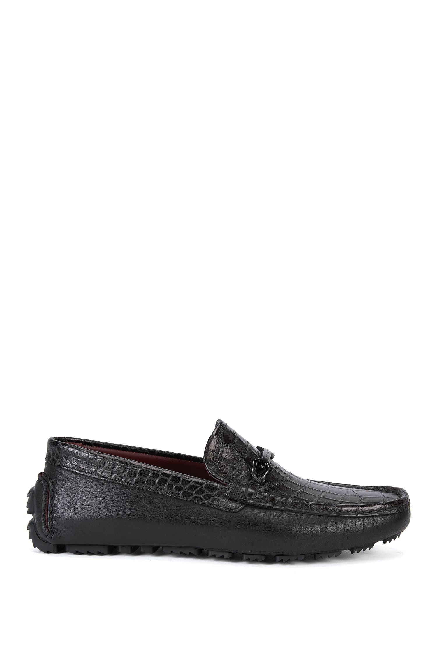 Tailored leather moccasins with embossed front: 'T-Driver_Mocc_exhw'