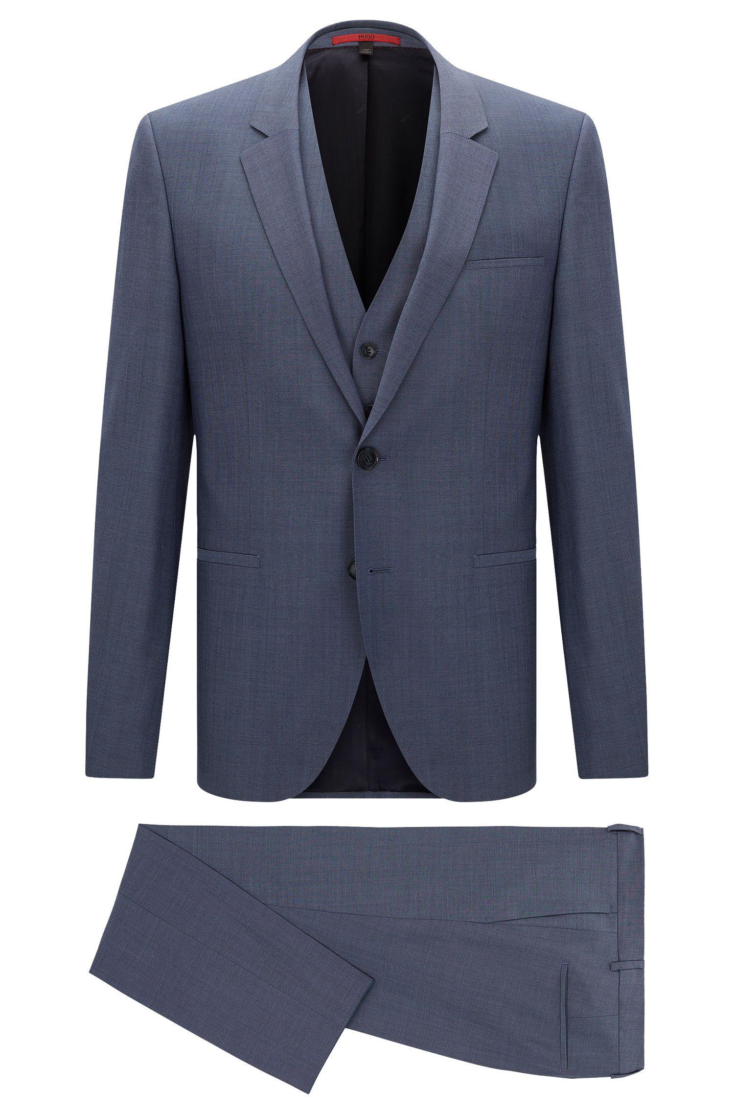 Melierter Slim-Fit Anzug aus Schurwolle mit Weste: 'Arvon/Wiant/Hilwert'