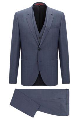 Melierter Slim-Fit Anzug aus Schurwolle mit Weste: 'Arvon/Wiant/Hilwert', Blau