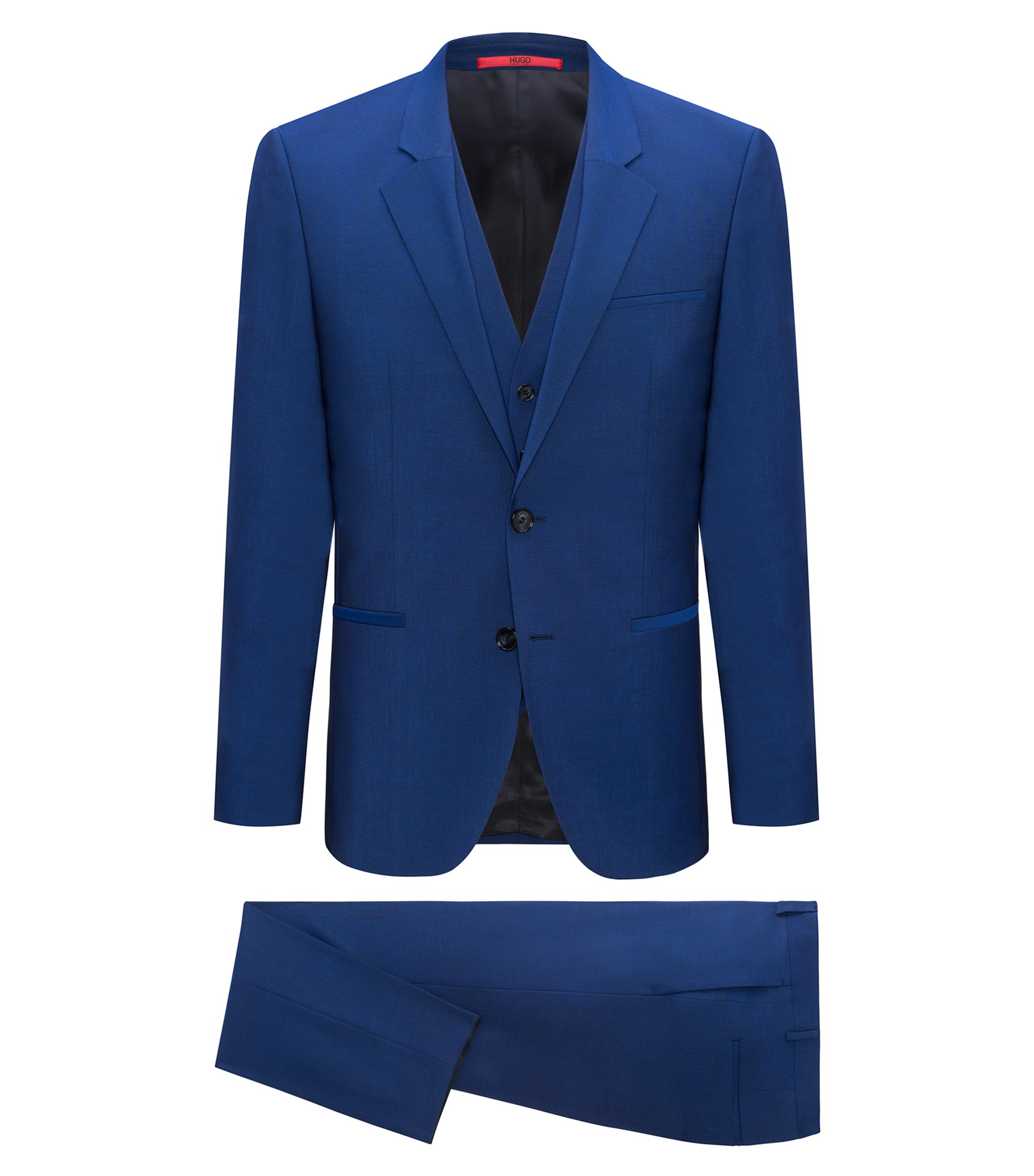 Three-piece slim-fit suit in mohair-effect virgin wool, Blue