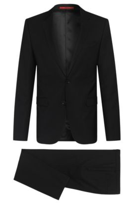Gestructureerd slim-fit kostuum van scheerwol: 'Astian/Hets', Zwart