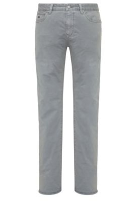 Slim-fit trousers in stretch cotton: 'C-Delaware3-3-20', Grey