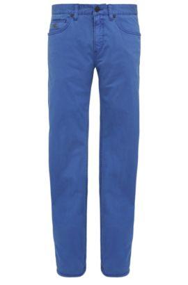 Pantalon Slim Fit en coton extensible: «C-Delaware3-3-20», Bleu