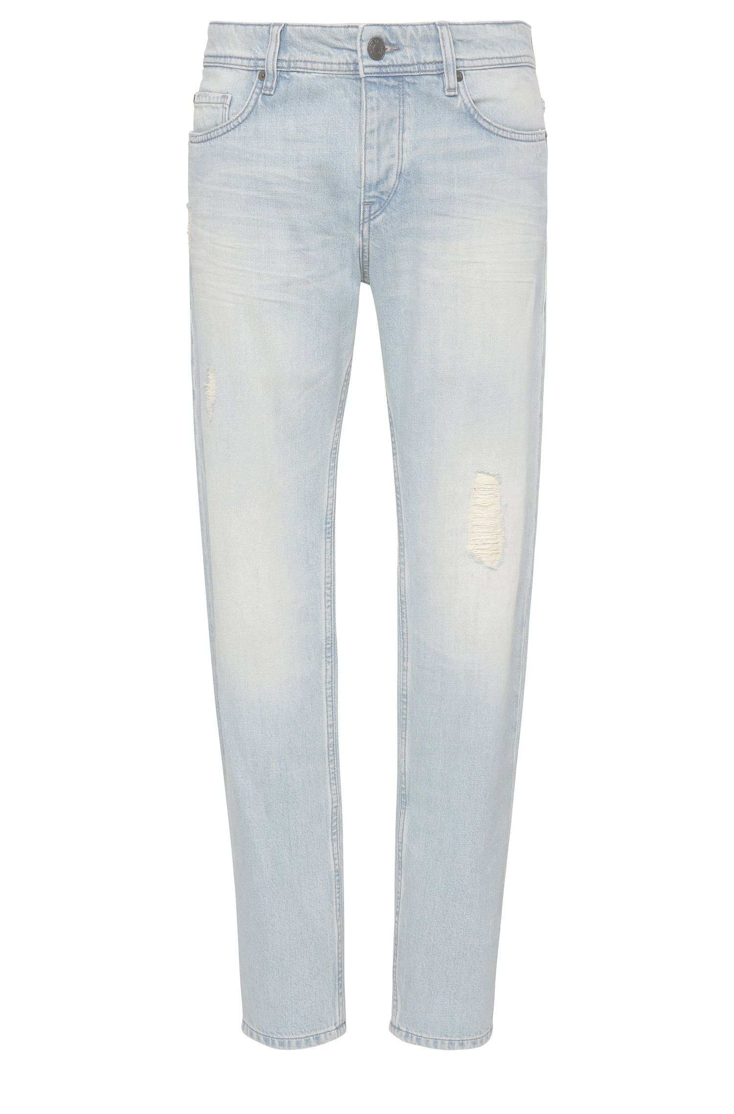 Tapered-fit jeans van een katoenmix met vintage-wassing: 'Orange90'
