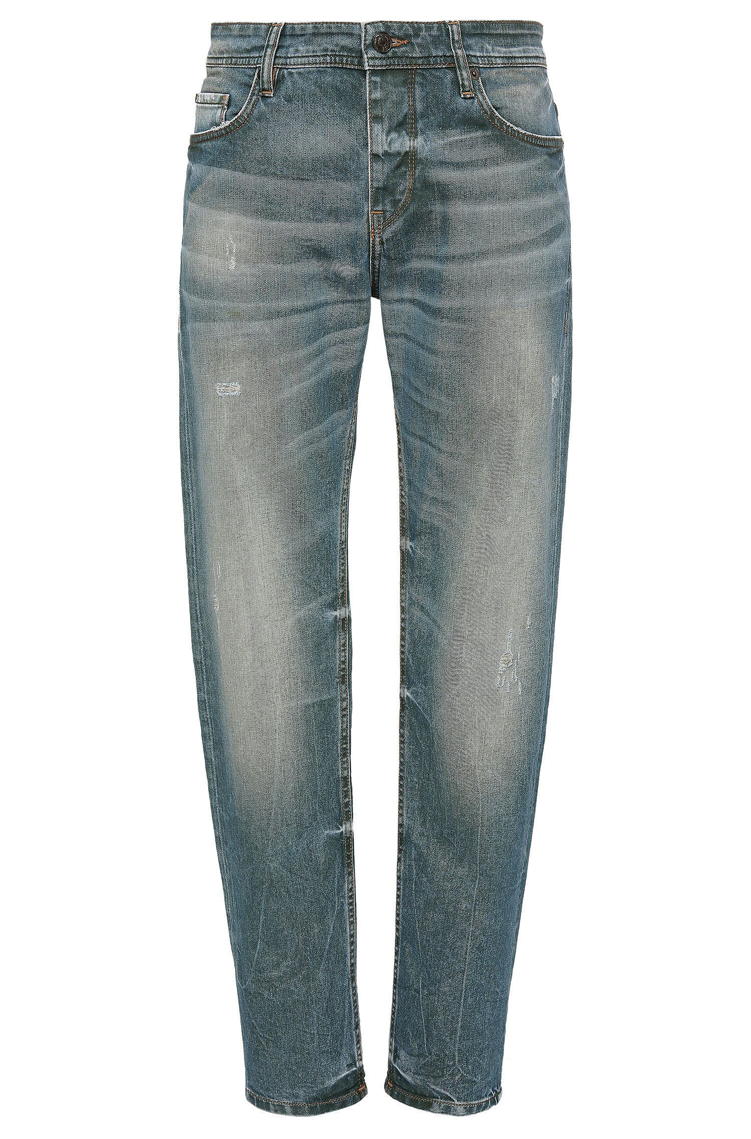 Tapered-Fit Jeans aus elastischer Baumwolle im Used-Look: ´Orange90`