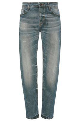 Vaqueros tapered fit en tejido de algodón elástico con acabado vintage: 'Orange90', Azul