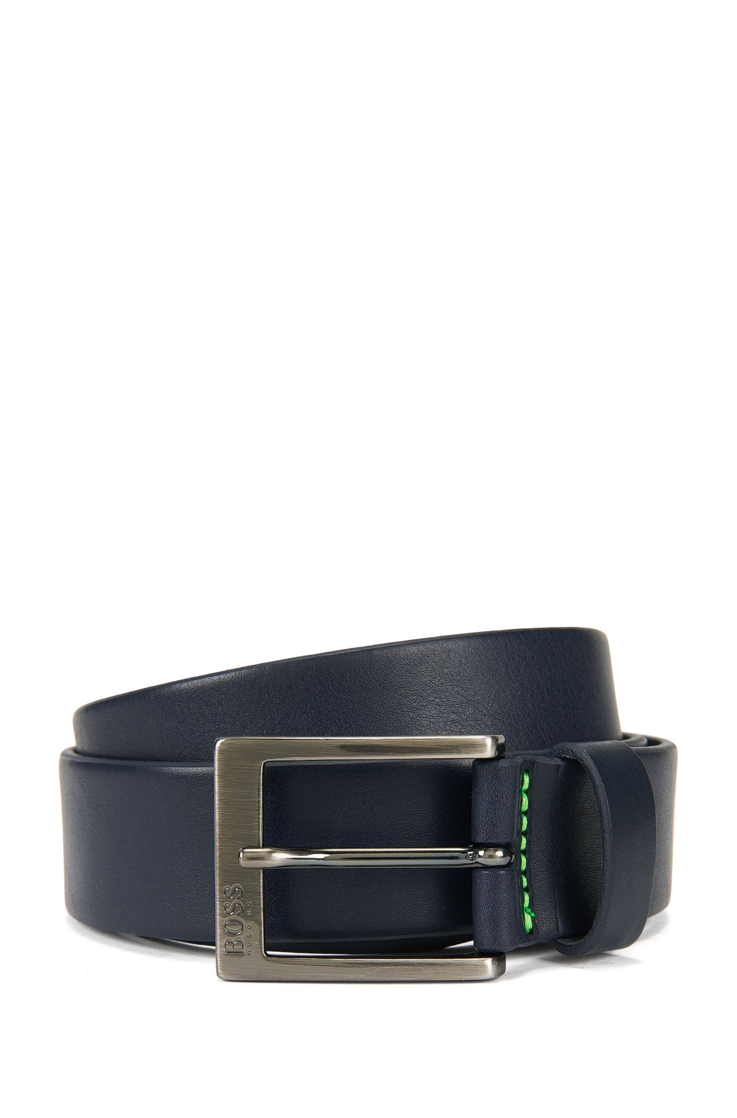 Leather belt with brushed gunmetal buckle