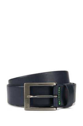 Leather belt with brushed gunmetal buckle, Dark Blue
