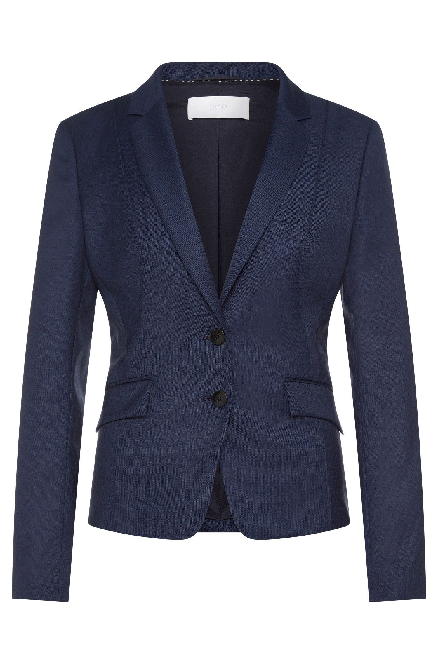 Fitted blazer in a stretchy new-wool blend with piping: 'Jenesa'