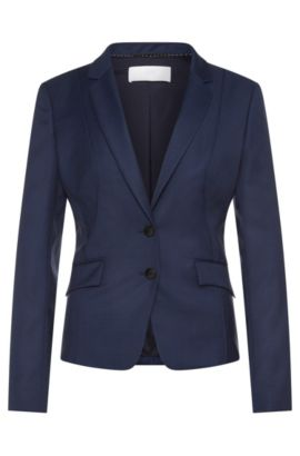 Fitted blazer in a stretchy new-wool blend with piping: 'Jenesa', Patterned