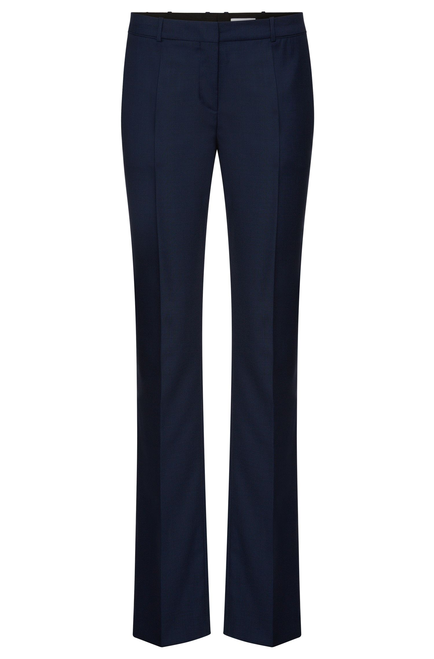 Regular-fit trousers with pressed creases in stretchy wool blend: 'Tamea7'