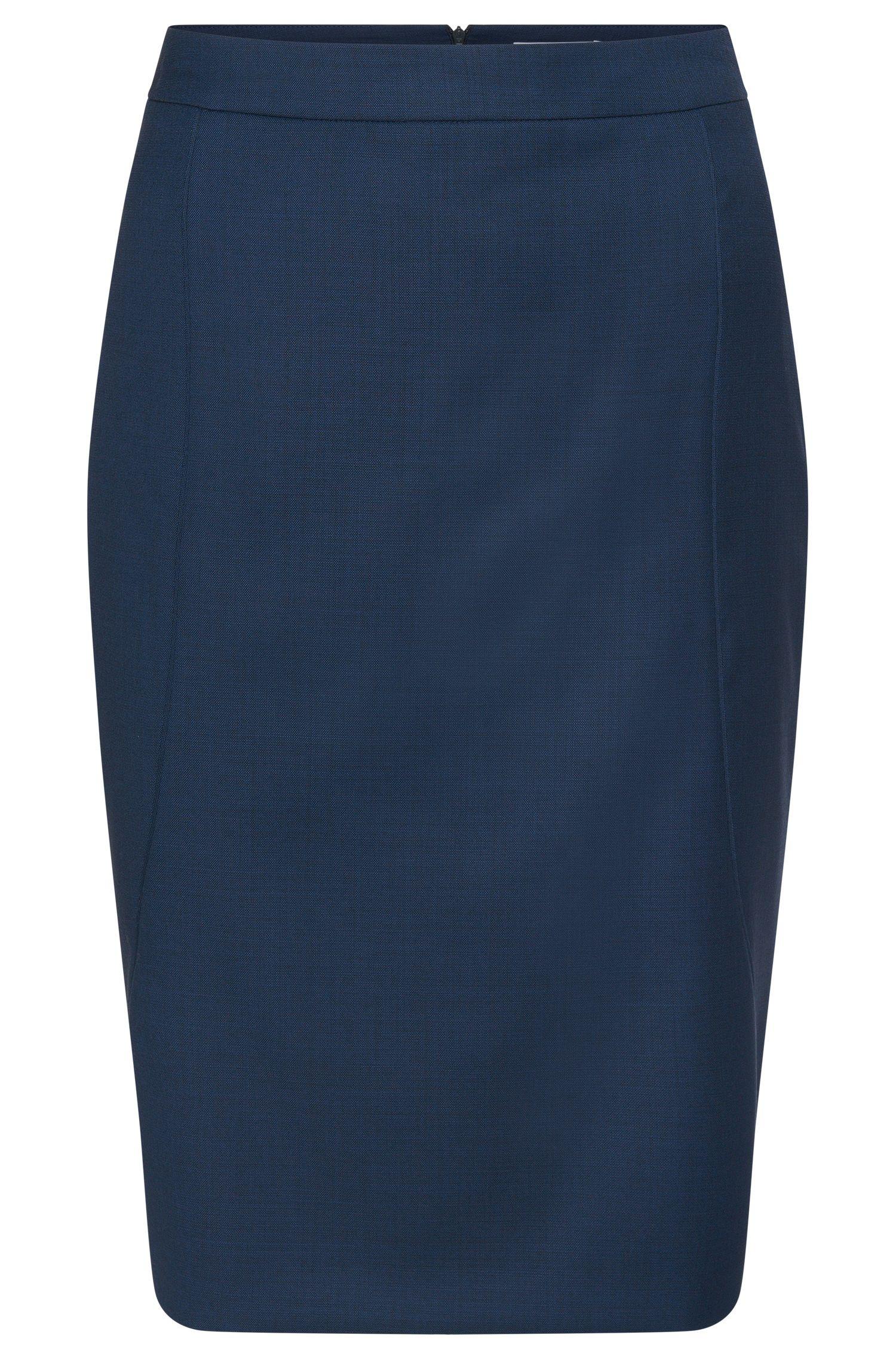 Falda lápiz en mezcla de lana elástica con costuras visibles: 'Venesa'