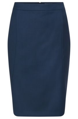 Pencil skirt in stretchy wool blend with visible seams: 'Venesa', Patterned